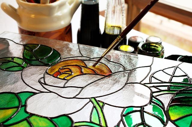 růže malovaná na sklo